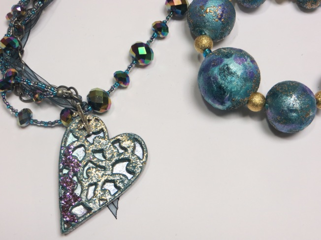 Frantage Heart Pendant and Paper Beads
